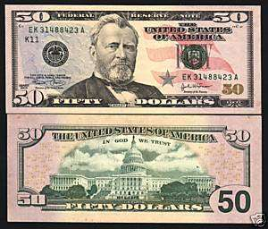 UNITED STATES USA $50 P 522A 2004 DATE GRANT COLORED FLAG NOTE