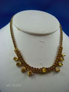 VINTAGE DARK AND LIGHT YELLOW RHINESTONES NECKLACE