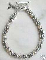 Silver &Mother of pearl LUNG CANCER AWARENESS bracelet