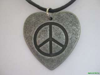 PEACE SIGN HEART METAL PENDANT LEATHER NECKLACE NEW