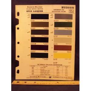 1951 HUDSON Paint Colors Chip Page Hudson Motor Car Company Books