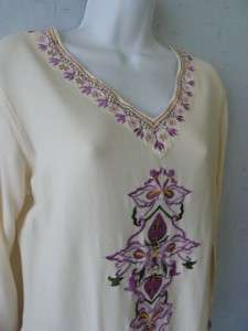 THE PYRAMID COLLECTION Art to Wear Embroidered Boho/Lagenlook Tunic