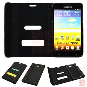 Black Ultra slim Leather flip Wallet case cover For Samsung Galaxy