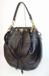 NWT Coach Madison Black Leather Large Marielle Drawstring Bag 17016