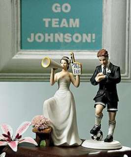Soccer Player Groom Cheering Bride Wedding Cake Topper