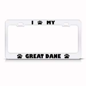 Great Dane Dog White Animal Metal license plate frame Tag