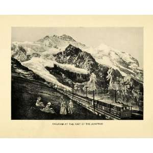 Print Railroad Jungfrau Train Mountain Range Valais Bern Switzerland