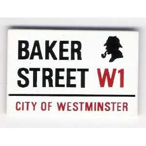 Baker Street with Sherlock Holmes Profile Fridge Magnetic