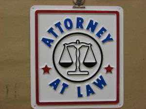 ATTORNEY AT LAW Service Sign 3D Embossed Plastic 8x9