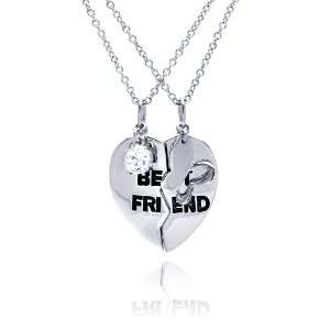 Free Silver Necklaces Broken Best Friend Heart Necklace: Jewelry