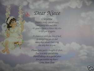 NIECE POEM PERSONALIZED ANGEL LITHO PRINT BIRTHDAY GIFT