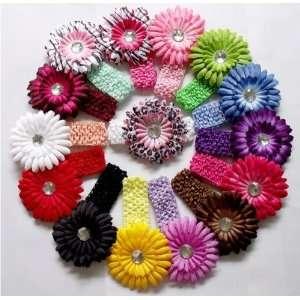 Lot 15 Baby Daisy Flower Headband Hair Clip Bow Crochet + Headbands