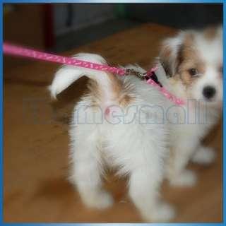 PINK Bone Paws Print Small Dog Pet Leash Lead & Harness