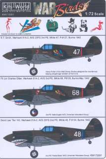 World Decals 1/72 CURTISS P 40 WARHAWK SHARKMOUTH AVG & British