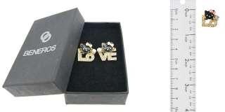 Gold Tone Black Face Hello Kitty Love Letter Earrings with Swarovski