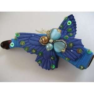 Blue Green Butterfly Bead Sequin Flower Hair Barrette Jewelry