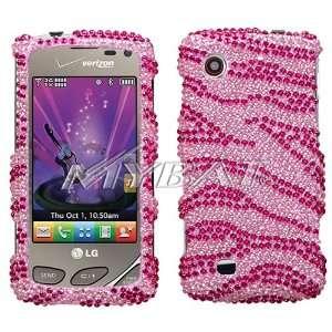 Hot Pink Zebra Stripe Premium Luxurious Sparkling Rhinestones Full