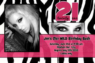 Zebra HOT PINK Bachelorette BIRTHDAY Invitation *Wild*