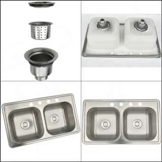 Practical Stainless Steel Kitchen Sink Double Bowl Top Mount Ho
