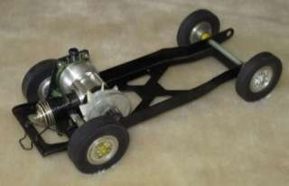 Cox .049 engine and chassis, Thimble Drome tether car 049 motor and