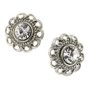 Bellissimo Silver Tone Crystal Flower Stud Earrings