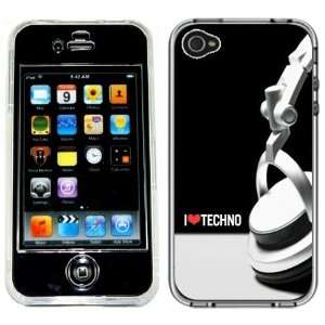 I Love Techno Music Handmade iPhone 4 4S Full Hard Plastic