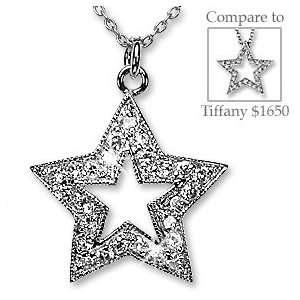 Platinum Silver Simulated Diamond Star Pendant Necklace