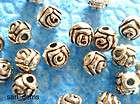 50 x tibetan silver round rose flower detailed spacer b