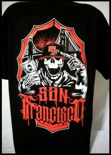 49ers Money Skull T Shirt Bay Area Bridge Frisco 415 Black NEW