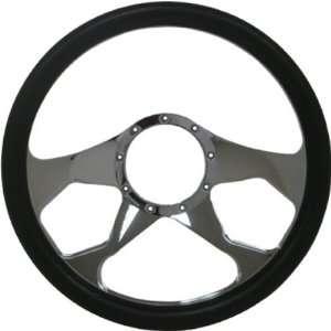 14 Chrome Billet Aluminum Steering Wheel w/ Half Wrap   9