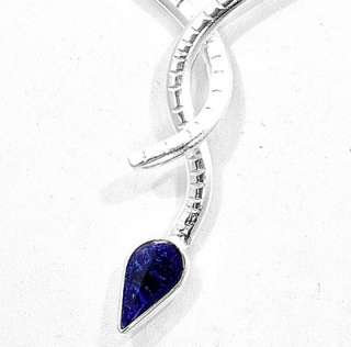 This is a silver plated, handcrafted necklace with a block sodalite
