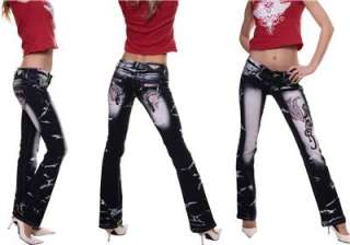 NEW SEXY *** CRAZY AGE *** DESIGNER PINK TATTOO JEANS sz UK 6 8 10 12