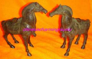 Pair of Chinese old Bronze War Horse Statue