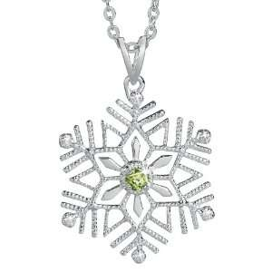 Birthstone and Diamond Snowflake Pendant   August Jewelry