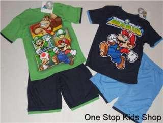 SUPER MARIO BROTHERS Boys 4 5 6 7 8 Set OUTFIT Shirt Shorts DONKEY