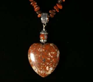 Jay King MINE FINDS Red Poppy Jasper Heart Necklace
