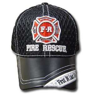 FIRST IN LAST OUT FIRE RESCUE LEATHER BLK MESH HAT CAP