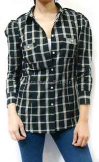 NWT Juicy Couture Chic Black Flannel Plaid Shirt Top