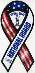 Red, White, Blue Army National Guard Car Ribbon Magnet