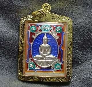 BLUE THAILAND FAMOUS TEMPLE THAI BUDDHA TOP AMULET GOLD PLATED PENDANT