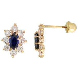 Cut Blue Sapphire colored & Brilliant Cut Clear CZ Stones Jewelry