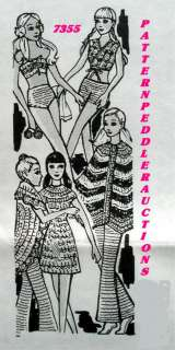 BARBIE Doll Crochet Clothes Fabric Pattern Design 7355