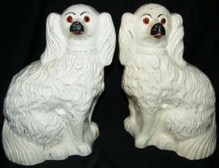 Antique Staffordshire Fireside/Mantle Spaniels Dogs