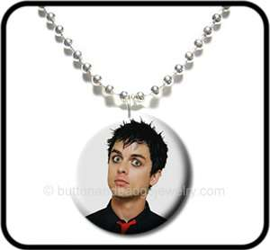 GREEN DAY* Billie Joe Armstrong Photo Button NECKLACE