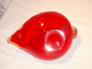 Vintage Retro Art Red & Clear Glass Bird Dish Ashtray