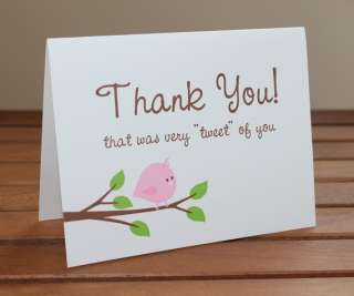 50 Little Birdie Baby Shower Thank You Cards