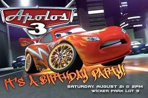 CUSTOM CARS BIRTHDAY INVITATIONS INVITES pixar disney