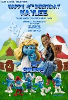 SMURFS Smurfette Custom Birthday Invitation Card Photo Clumsy Papa