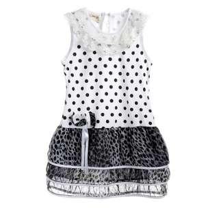 10 Yrs Sweet Black Kids Girls Leopard Print Bow Summer Dress Skirt