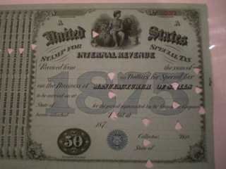 1875 IRS MANUFACTURE OF STILLS TAX STAMP CERTIFICATE